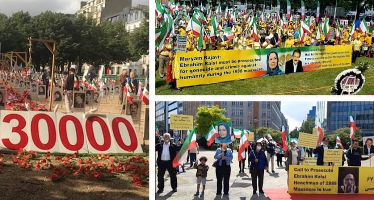 Demonstrations of Iranians in Different Countries in Solidarity With the Iranian People's Uprisings and as Raisi Becomes President