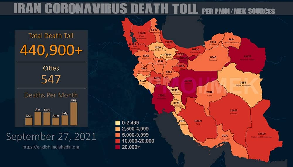 · Alireza Zali, deputy head of the National Coronavirus Combat Taskforce (NCCT) in Tehran: Unlike the last four weeks, in which we were observing a declining pattern, yesterday we saw an increase in statistics, which could be alarming. (Mehr news agency, September 27, 2021) · Ahvaz Jundishapur Medical University: We are worried about the next COVID-19 outbreak that will occur in November. (ISNA news agency, September 27, 2021) · Ardabil Medical University: Coronavirus is still dangerous, and we may see a Coronavirus surge again in the Province. · In West Azerbaijan, 1,067 people were infected with COVID-19, of whom 372 were hospitalized, and 31 died during the past 24 hours. (State Radio and TV news agency, September 27, 2021) · Isfahan Medical University: The COVID-19 statistics in the Province, not including Aran va Bidgol is 2,105 hospitalized, 356 patients are in ICU, and 29 died during the past 24 hours. (IMNA news agency, September 27, 2021)
