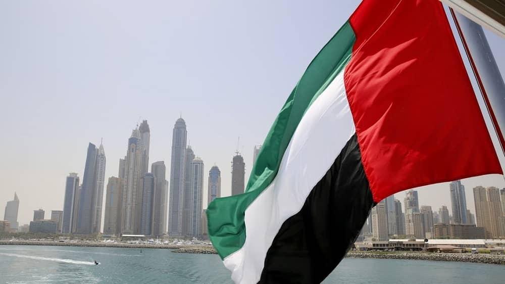 UAE flag flies over a boat