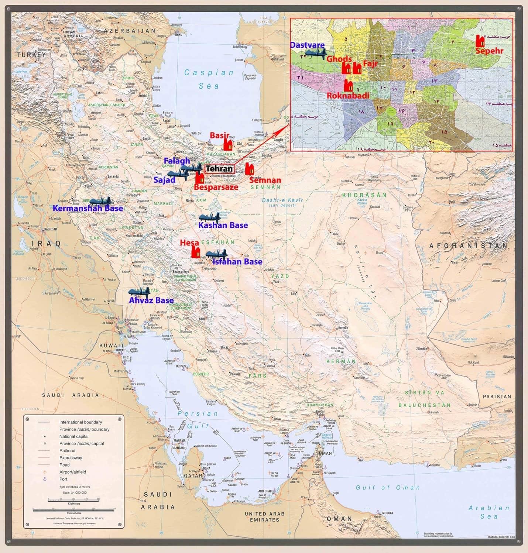 Map of Iran showing 8 UAV