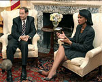 Secretary of State Condoleezza Rice meeting European Union's foreign policy chief, Javier Solana