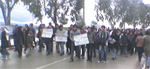 Students at the University of Science and Technology stage protest