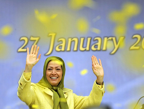 AFP: The president of the opposition National Council of Resistance of Iran (NCRI) movement, Maryam Rajavi waves to supporters on January 27, 2009 during a rally in front of the European Union council headquarters in Brussels. The rally comes one day after the EU Foreign Ministers decided to remove People's Mujahedeen of Iran (PMOI) from the EU terrorist list. The European Union on Monday removed PMOI, from its blacklist, bringing an end to a long legal battle, but more action against it is not ruled out.