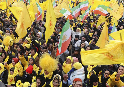 Supporters of Maryam Rajavi, president-elect of the the National Council of Resistance of Iran (NCRI), take part in a rally in Brussels January 27, 2009.