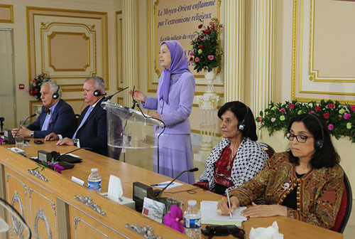 """Maryam Rajavi speaking in a conference on June 14, entitled """"Middle East Burning in the flames of Religious Extremism"""