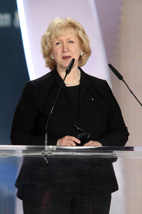 Former Canadian Prime Minister Kim Campbell in major Iran Freedom rally in Parc des Expositions exhibition center on June 13, 2015 in Villepinte, supports establishment of human rights in Iran