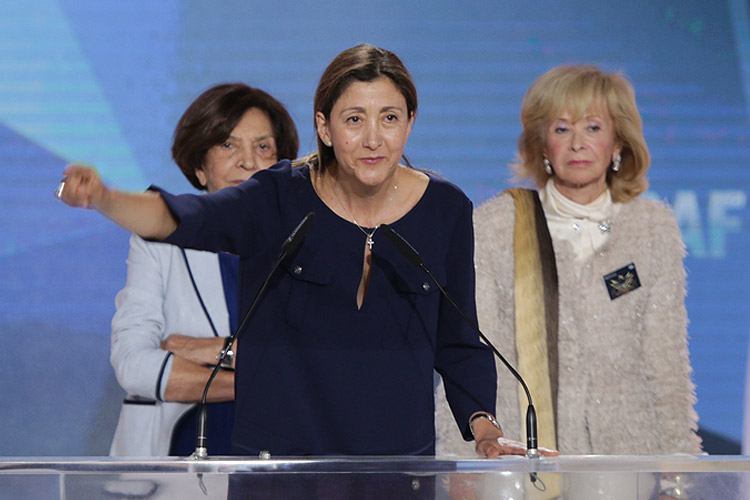 Ingrid Betancourt, former Presidential candidate in Colombia, speaks at a major Iran Freedom rally in Villepinte on June 13, 2015