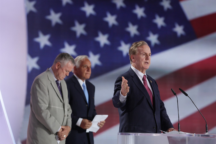 Rep. Robert Pittenger of the US House Committee on Financial Services, in major Iran Freedom rally in Parc des Expositions exhibition center on June 13, 2015 in Villepinte, condemns human rights abuses, nuclear proliferation and sponsorship of terrorism by Iran's regime