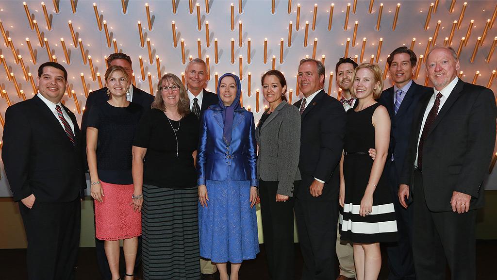 Group photo: Maryam Rajavi with delegation from Arizona, US.