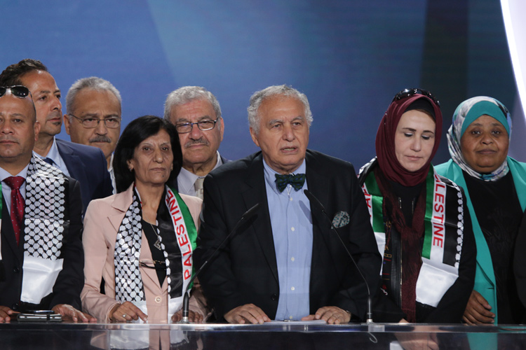 Mr. Sid Ahmed Ghozali, former Prime Minister of Algeria, addresses the Iran Freedom rally