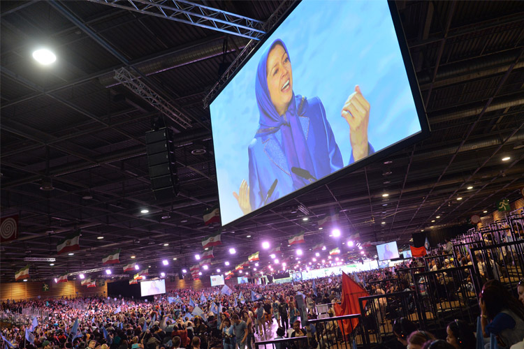 Rajavi speaks during major Iran Freedom rally in Parc des Expositions exhibition center on June 13, 2015 in Villepinte