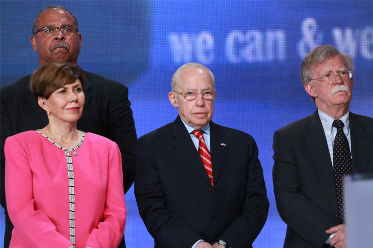 Front row, from left: Linda Chavez, former White House director of public liaison; Judge Michael Mukasey, the 81st Attorney General of the US; John Bolton, former US ambassador to the UN and under-secretary of state for arms control. Second row: Kenneth Blackwell, former Cincinnati mayor and US ambassador to the UN human rights commission