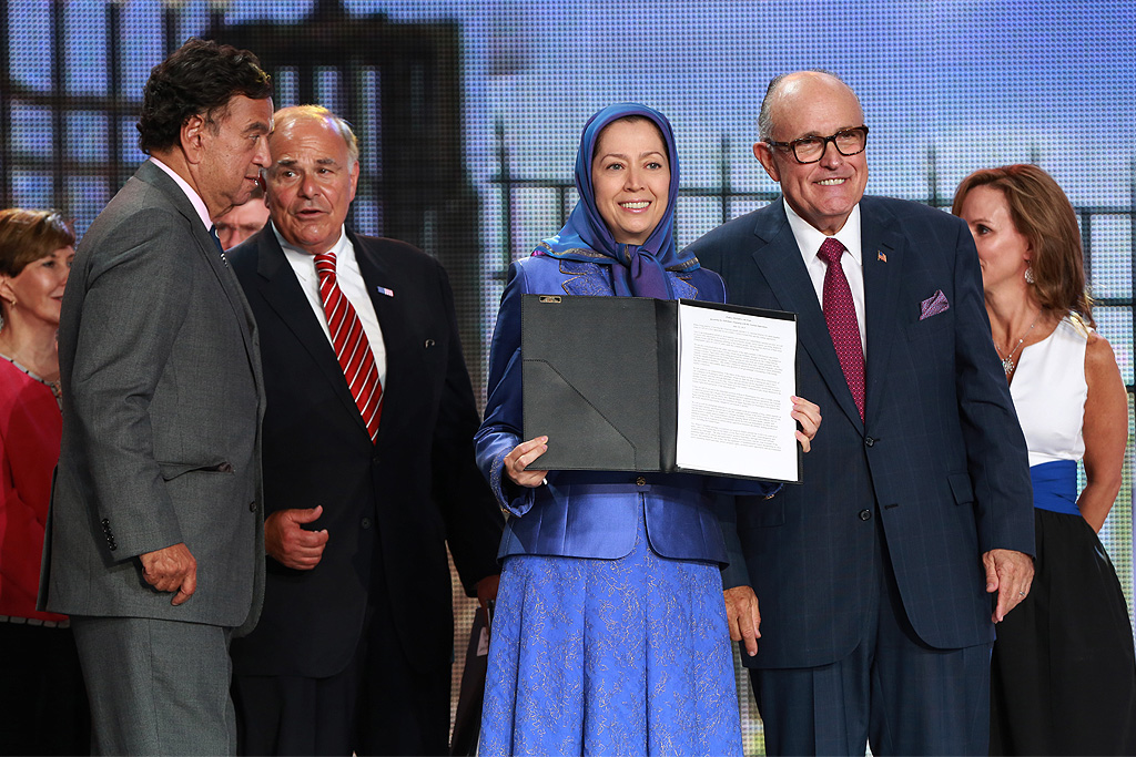 Delegation of top former US officials addresses major Iran Freedom rally in Parc des Expositions exhibition center on June 13, 2015 in Villepinte. They read out bi-partisan text signed by 38 former senior US officials supporting the democratic 10-point plan of opposition leader Maryam Rajavi for a future free Iran. They say that in order to stop nuclear proliferation in Iran and defeat Islamic fundamentalism there needs to be support for Iran's Parliament-in-exile, the National Council of Resistance of Iran (NCRI), to bring about regime change. They also call on the Obama administration to live up to its legal obligation of protecting thousands of members of the People's Mojahedin Organization of Iran (PMOI/MEK) in Camp Liberty, Iraq