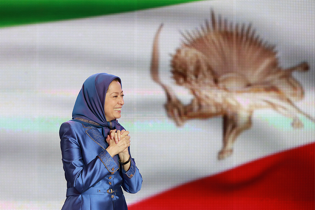 Maryam Rajavi, President-elect of the National Council of Resistance of Iran speaks during major Iran Freedom rally in Parc des Expositions exhibition center on June 13, 2015 in Villepinte