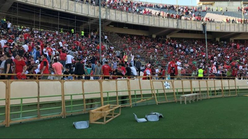 IRAN: Chanting Death to the Dictator, People Clashed with Regime Forces During the Soccer Match in Tehran