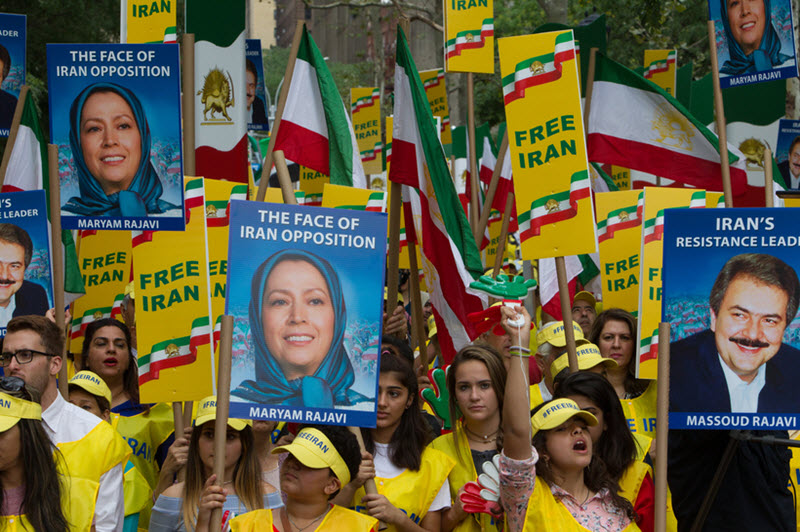 Protesters of the People's Mojahedin Organization of Iran (PMOI)