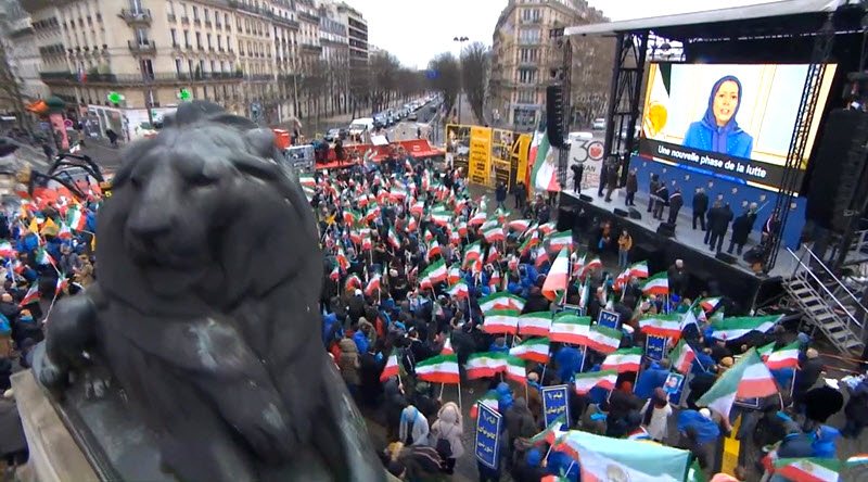 Live Report: Iranians Protest in Paris for a Free Iran - Feb 8