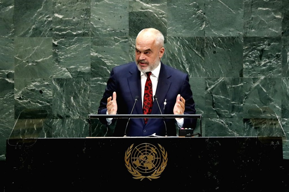 Albanian Prime Minister Edi Rama at the United Nations General Assembly on September 27, 2019