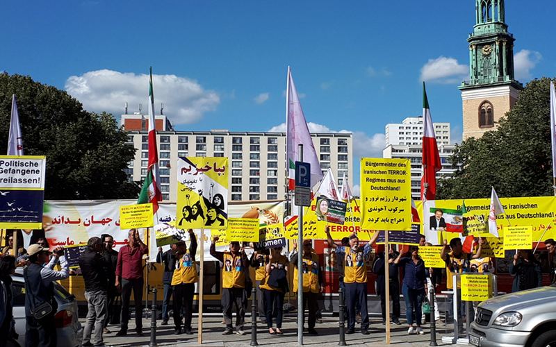Berlin: The Iranian community based in Germany, supporters of the People's Mojahedin Organization of Iran (PMOI, Mujahedin-e Khalq or MEK), on Friday, September 7, 2019, held a protest to denounce the presence of the Mayor of Tehran Pirouz Hanachi in Berlin.