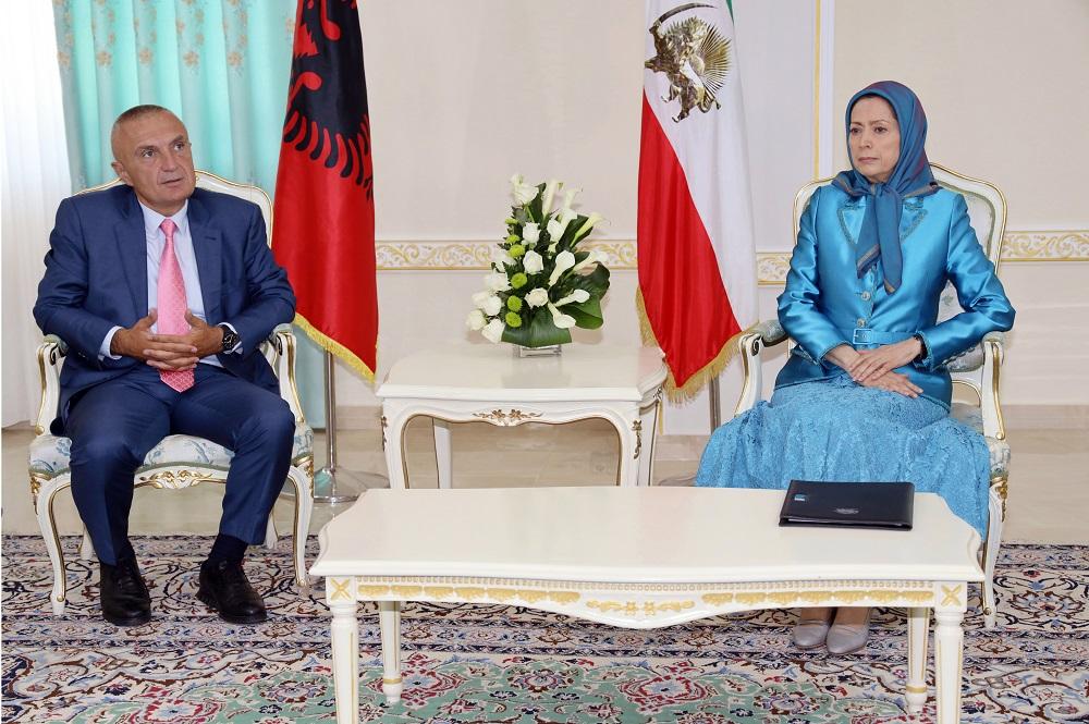 Albanian President Ilir Meta meets Iranian opposition leader Maryam Rajavi at Ashraf 3, Albania
