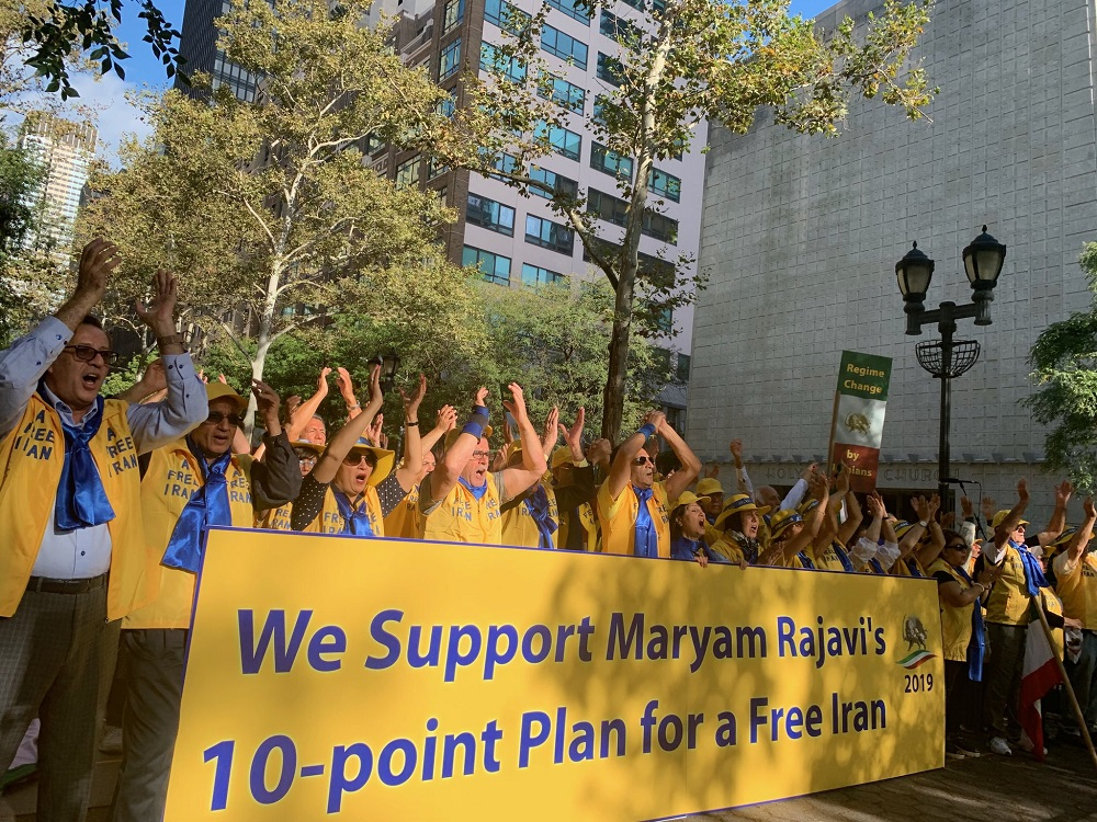 Thousands of Iranian Americans rallied outside the United Nations in New York on Tuesday, September 24, to denounce the presence of the Iranian regime's President at the UN General Assembly and to echo the voice of the millions in Iran who seek regime change.