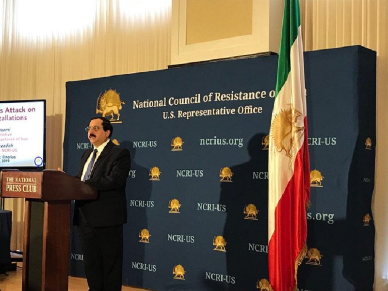 Alireza Jafarzadeh, Deputy Director of the National Council of Resistance of Iran's representative office in the US, during the press conference revealing details of Iranian regime's attack to Saudi Aramco oil installations- September 30, 2019