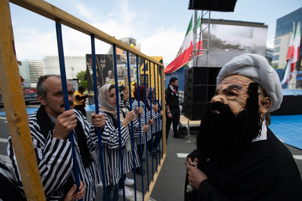 'No to Rouhani' protest by supporters of the Iranian opposition Mujahedin e Khalq MEK