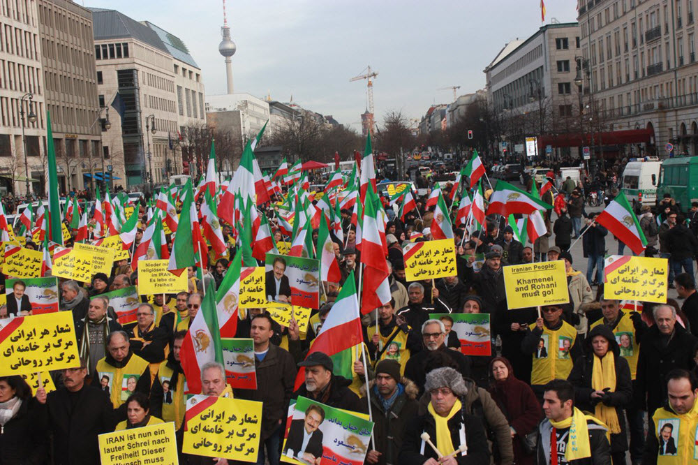Over Fifteen thousand MEK supporters rally in Berlin is support of the Iranian resistance and in solidarity with the uprisings in Iran-July 6, 2019