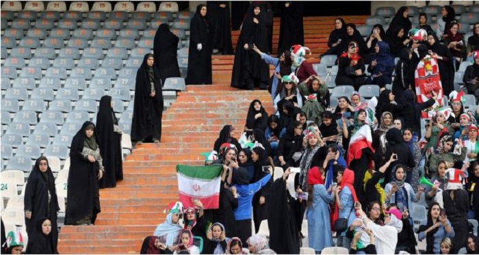 Iranian women attending a football match under heavy security- Watching football for women in Iran is forbidden under mullah's regime-October 10, 2019
