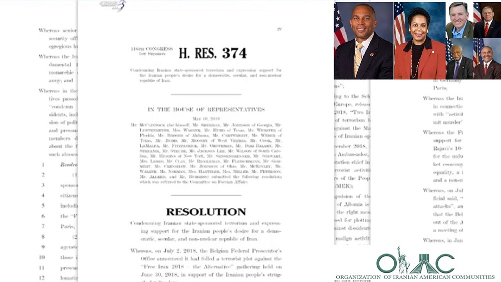 House Resolution 374 was unveiled at a conference organized by the Organization of Iranian-American Communities (OIAC) on October 30, 2019 at the House of Representatives