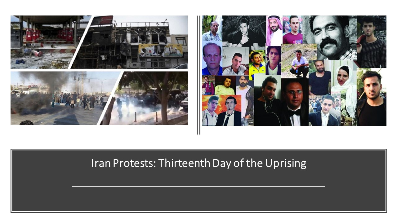 Iran Protests: Thirteenth Day of the Uprising for Regime Change