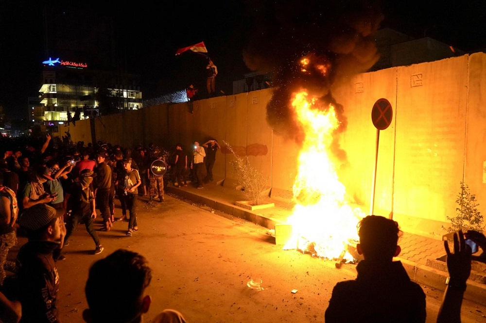 Iraqi Protesters Attack Iranian Consulate in Holy City of Karbala