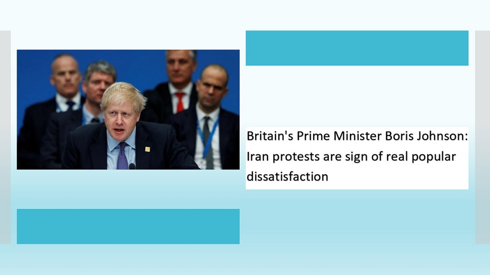Britain's Prime Minister Boris Johnson-Iran protests are sign of real popular dissatisfaction