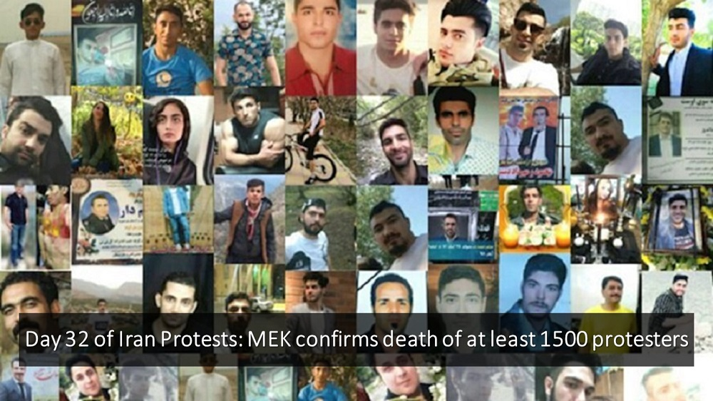 Day 32 of Iran Protests: MEK Confirms Death of at Least 1500 Protesters