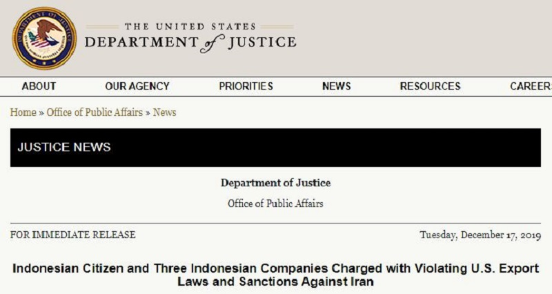 U.S. Charges Indonesian Companies for Evading Sanctions on Iran's Regime